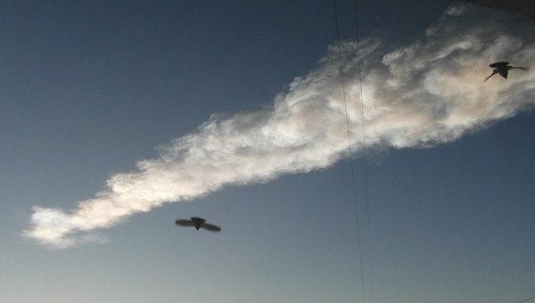 Шлейф дыма в небе над Челябинском. Архив